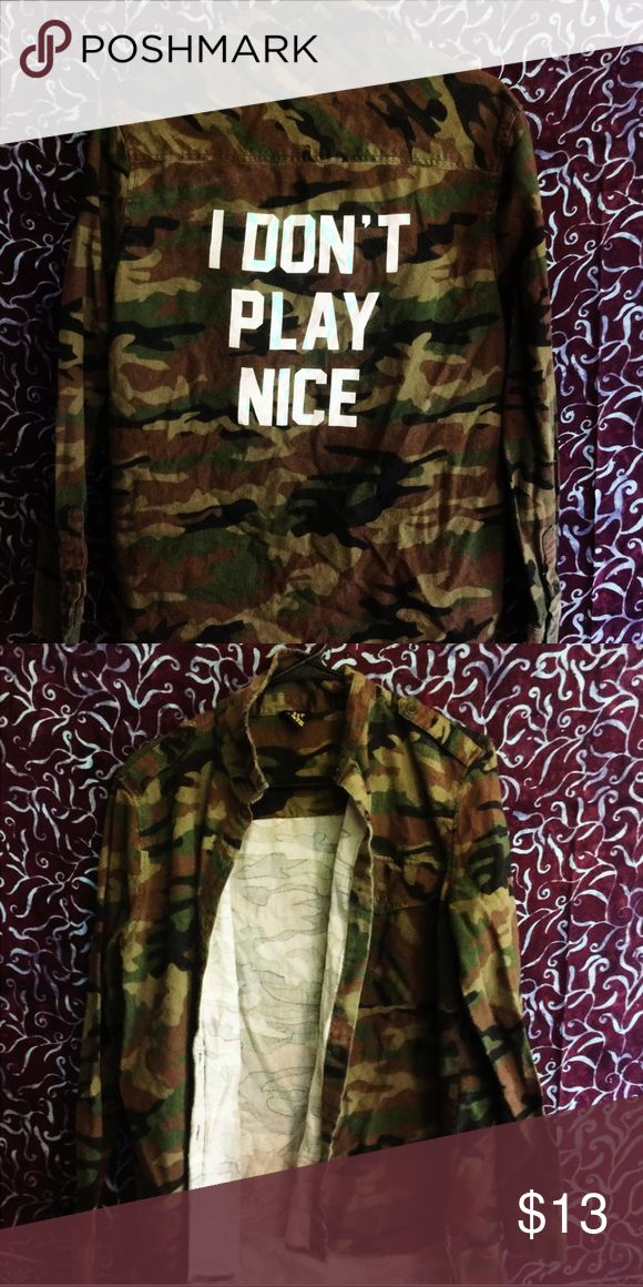 Camouflage flannel🐾 Camouflage flannel 🐾 Never worn 💕 Brand new without tags🥀 Size medium 🐾 Thanks for visiting my shop! ✨ Tags: black , grunge , tumblr Forever 21 Tops