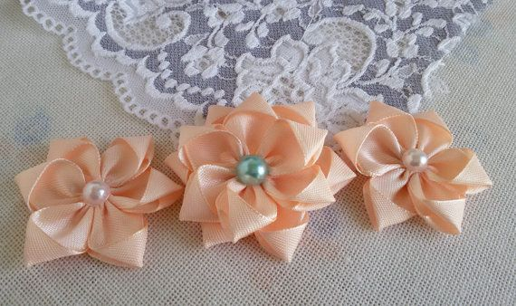 3 satin ribbon flowers light peach fabric flowers by Rocreanique on Etsy