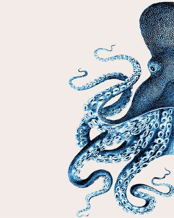 Set of 2 Octopus Prints Blue And Cream Nautical by NauticalNell