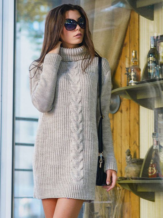 Hand Knit Women Tunic dress sweater coat  jacket women made to order hand knitted women's dress sweater cardigan pullover clothing handmade