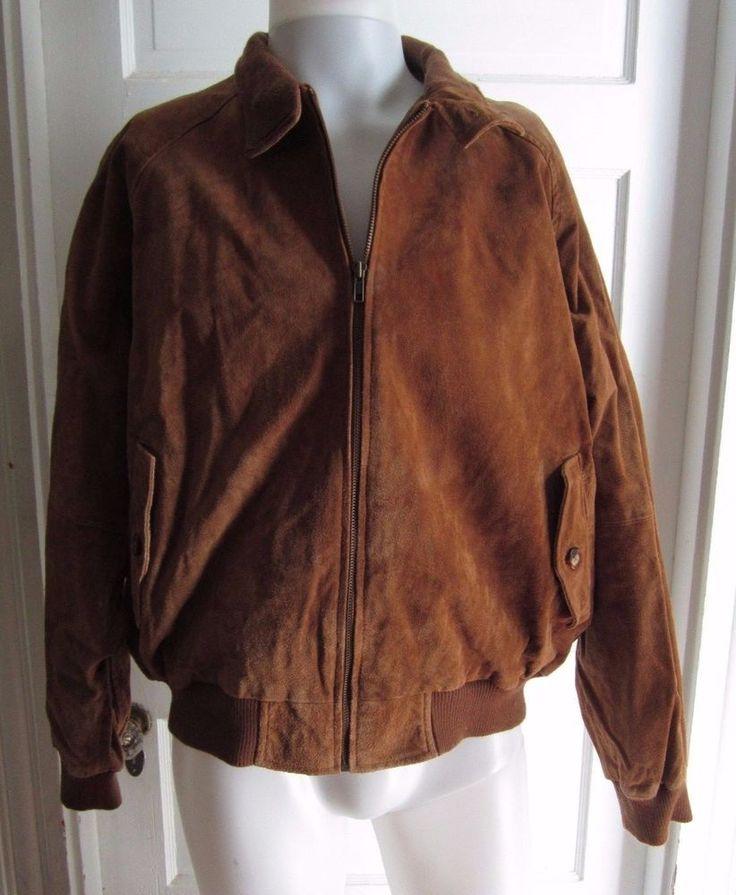Orvis Brown Leather Suede Harrington Plaid Lined A-2 Flight Bomber Jacket Mens L #Orvis #FlightBomber