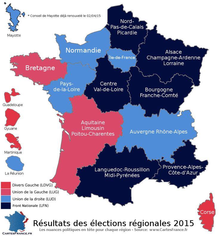 Carte des résultats du premier tour des élections régionales 2015