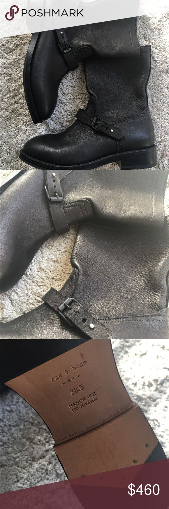 Rag and bone black Moto boots $595 Size 38.5 Rag and bone black booties size 38.5. It is not a stiff type of leather at the type. More relaxed. NEW WITHOUT BOX rag & bone Shoes Combat & Moto Boots