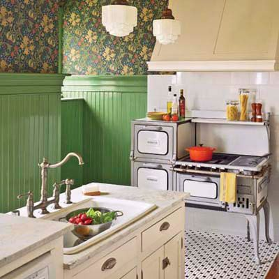 White kitchen with Retro Wallpaper - Video and Photos ...