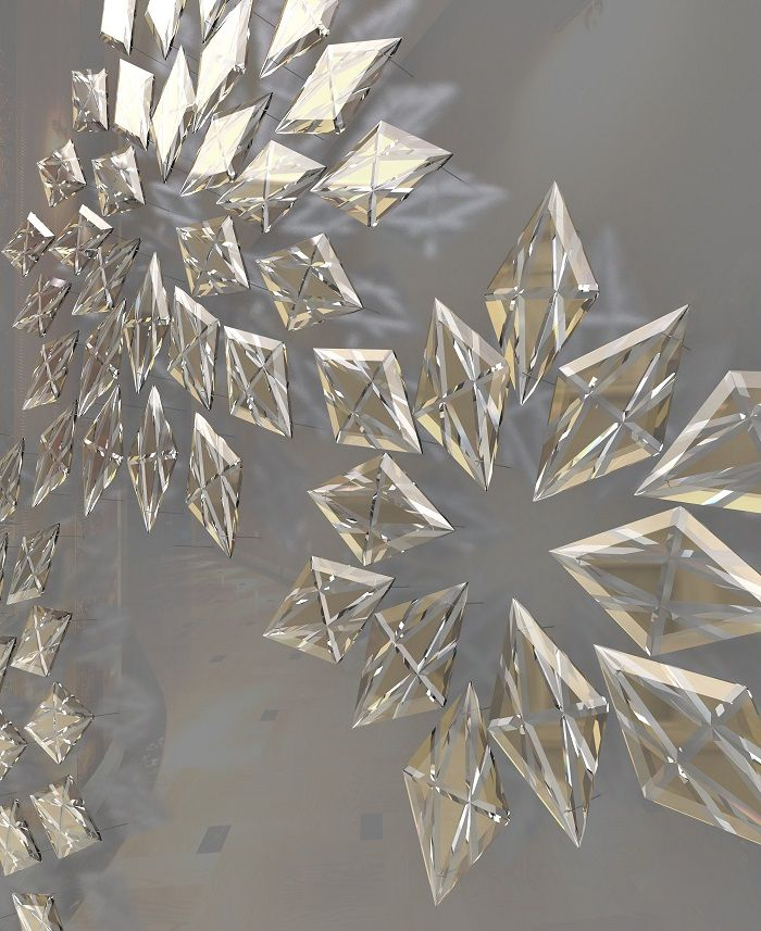 Romance in detail- create an interesting pattern on an empty wall with crystal cut prisms.