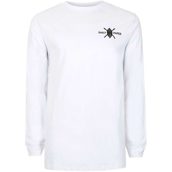 TOPMAN Daily Paper White Long Sleeve Logo T-Shirt (115 BRL) ❤ liked on Polyvore featuring men's fashion, men's clothing, men's shirts, men's t-shirts, white, mens white long sleeve shirt, mens classic fit shirts, mens long sleeve t shirts, mens white crew neck t shirts and mens crew neck t shirts