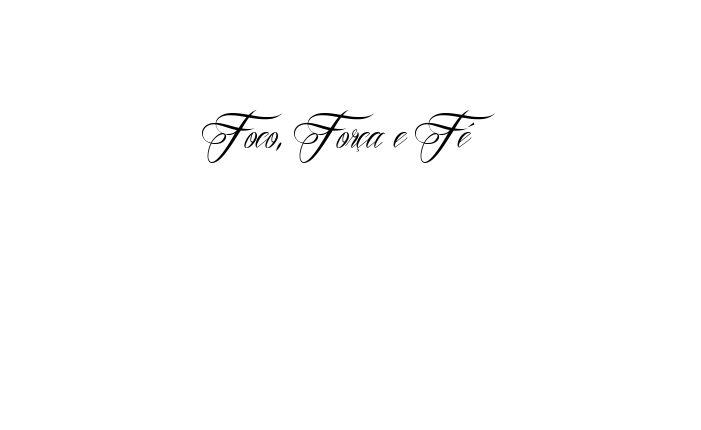 Tatuagem do nome Foco, Força e Fé utilizando o estilo Mardian