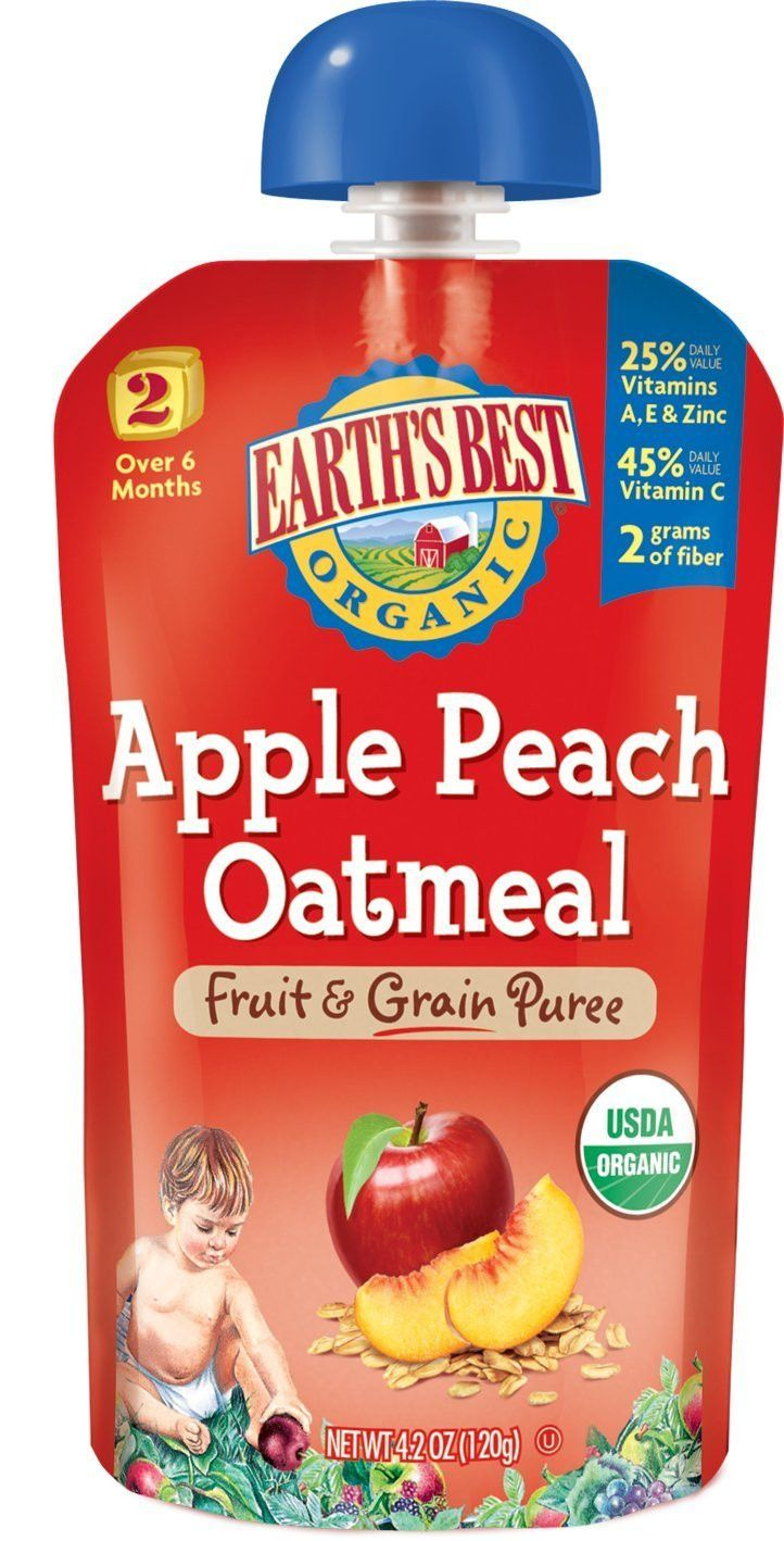 Earth's Best Organic Stage 2 Apple Peach Oatmeal Squeeze Pouch 4.2 oz