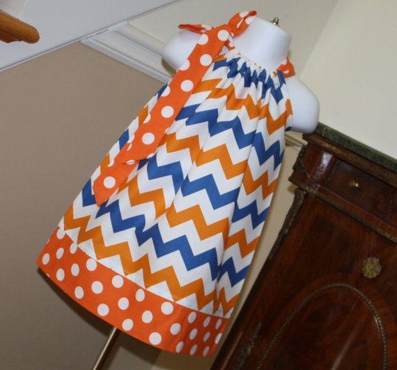 Florida Gators chevron Pillowcase Dress orange by BlakeandBailey, $19.99. Could easily pass for The Thunder.