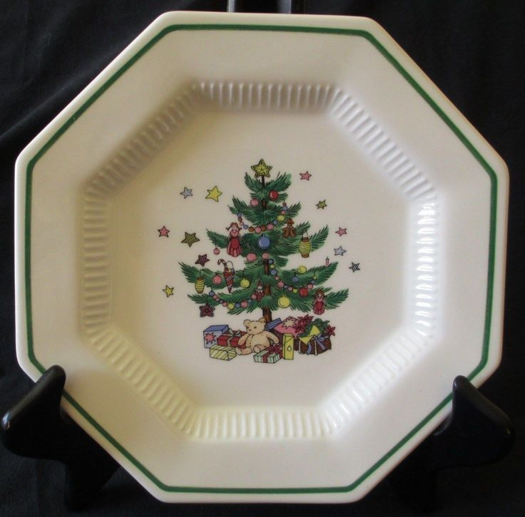 1 Nikko Christmastime Octagonal Green Trim Festive Holiday Dinner Plate 10 3/4  1 & 20 best Nikko Christmastime and Spode Christmas Tree images on ...