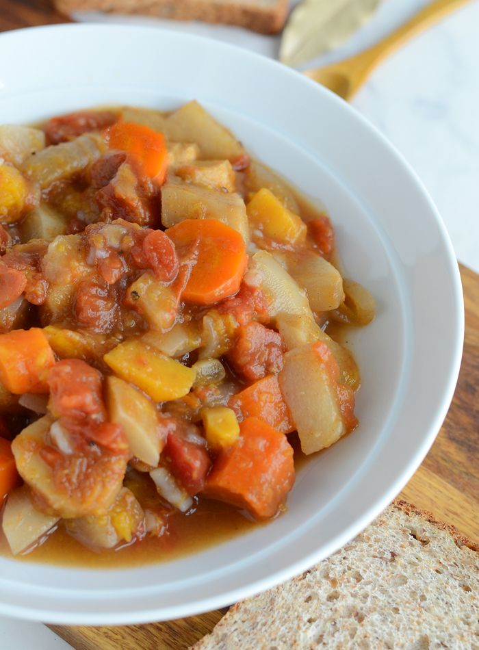 This healthy, hearty, vegan slow cooker root vegetable stew is easy to prep and keeps well for warming, comforting meals all week. Low in fat, gluten-free.