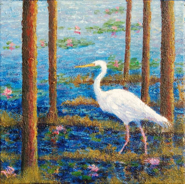 White Heron Acrylics on Stretched Canvas 25X25cm SOLD