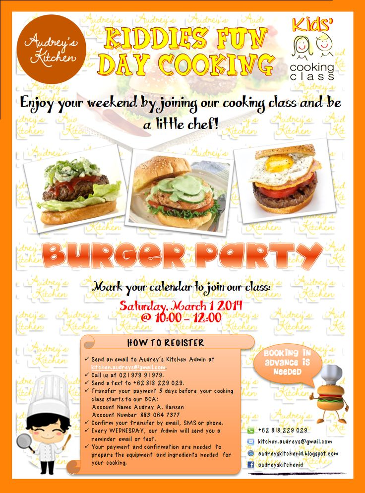Kiddy Fun Day Cooking Classat Audrey's Kitchen: Burger Party