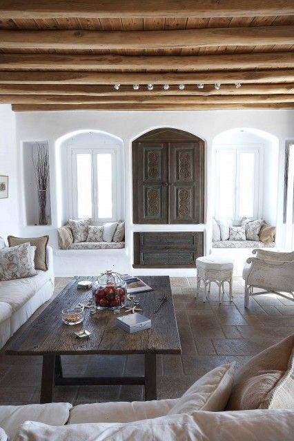 "<3 ! ""Interior of a luxurious villa in Mykonos, Greece - I love the twin window seats"""