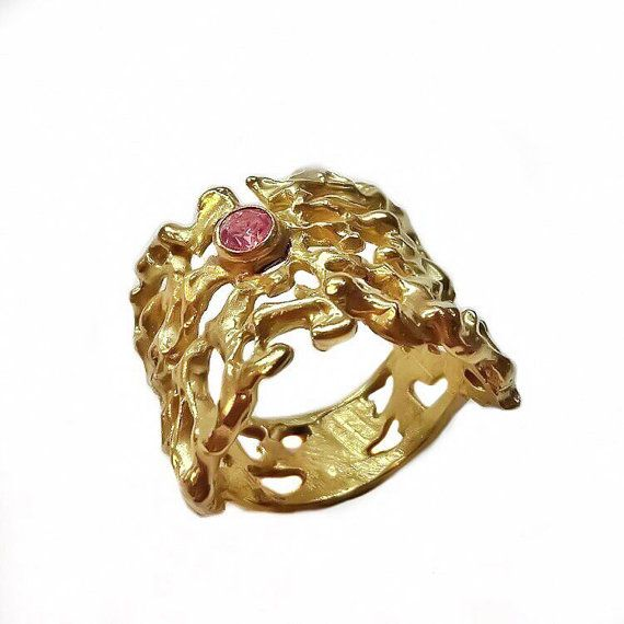 Wide Rose Swarovski Crystal Ring Gold Plated by KastoniJewels