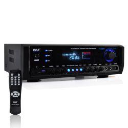 Digital Home Theater Bluetooth Stereo Receiver, Aux (3.5mm) Input, MP3/USB/SD/AM/FM Radio, (2) Mic Inputs, 300 Watt