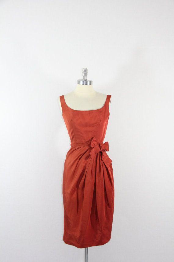 1950's Vintage Dress  Gorgeous Rust by VintageFrocksOfFancy, $220.00... the pattern for this dress is Vogue Paris Original 1423.