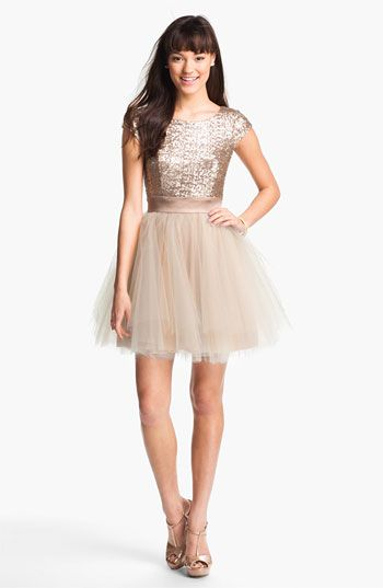 I'm thinking this for one of my looks... a little Carrie Sex in the City kinda dress. Trixxi Sequin & Tulle Party Dress (Juniors) (Online Only) available at #Nordstrom