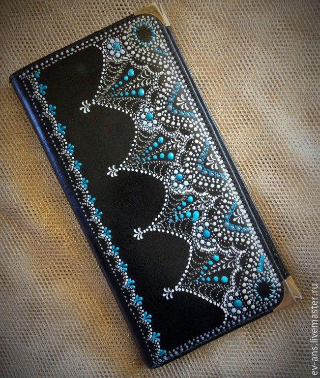 Купить Кошелек женский кожанный - черный, орнамент, кожанный кошелек, кошелек женский, точечная роспись