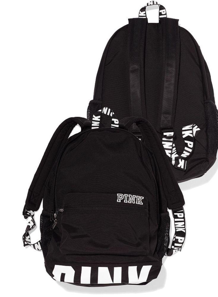 VICTORIAS SECRET PINK CAMPUS BACKPACK BLACK WHITE LOGO LARGE BOOKBAG NEW! #VictoriasSecret #Backpack
