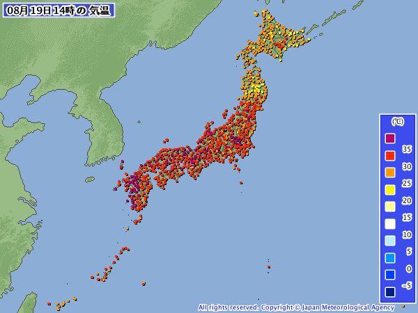 あれ,amedasの気温分布で魔界村の半径50km圏だけ気温が黄色表示だw 北海道より低いぞwww