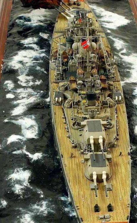 Battleship Bismarck diorama.