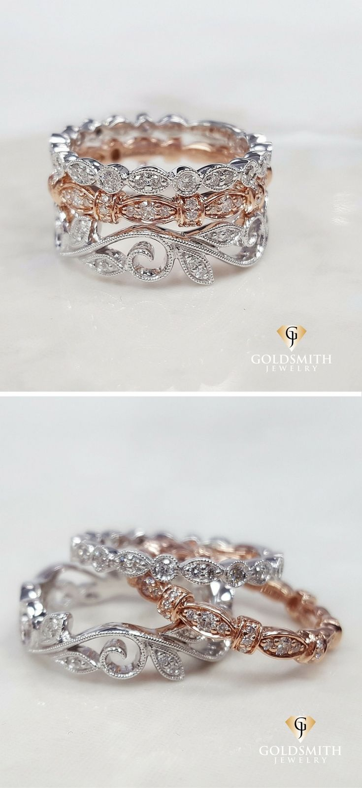 Mix and Match Dainty White Gold and Rose Gold Stackable Bands to create your own unique look