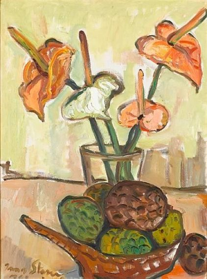 Irma Stern - Still Life with Anthuriums and Fruit