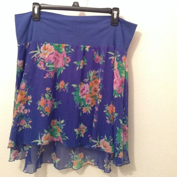 Blue High Low Skirt Cute Blue High Low Skirt with Flower design.  Perfect for any Spring day  Aeropostale Skirts High Low