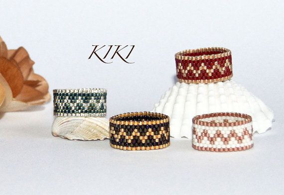 Beaded ring, peyote ring, seedbead zigzag patterned ring with metallic colours in band style unique handmade beadwork