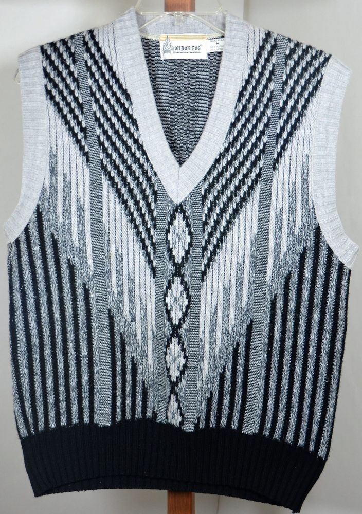 Mens London Fog Wool Blend Medium Sweater Vest Black Gray Size Pullover Londonfog Vest Fashion Sweater Vest Pullover