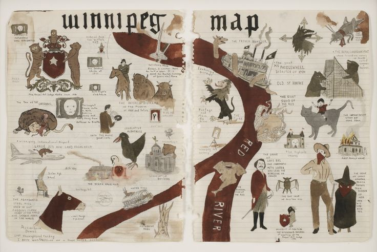 "Marcel Dzama ""Winnipeg Map"", 2007, courtesy David Zwirner, New York"