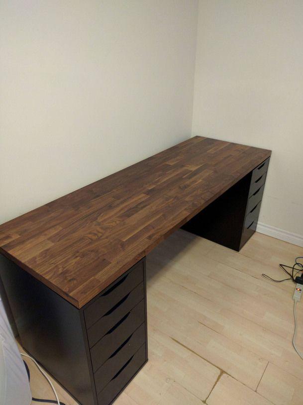 Karlby Counter Top Walnut Gamingsetup Ikea Gaming Setup Home Office Setup Computer Setup Diy Computer Desk