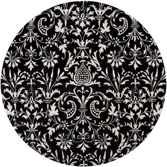 Natura Winter White Jet Black Round Rug In Victorian Pattern Rugs Nat7042 8rd
