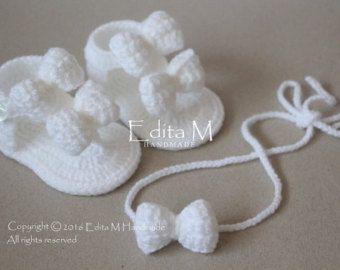 Sandalias de bebé del ganchillo y diadema por EditaMHANDMADE                                                                                                                                                                                 Más