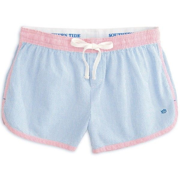 Women's Seersucker Lounge Short in Blue Stream by Southern Tide ($40) ❤ liked on Polyvore featuring southern tide