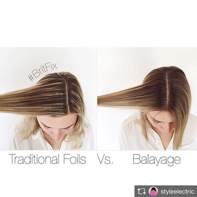 This is a perfect example to see the difference between traditional Highlights and Balayage. Creating softer less noticeable regrowth lines for a natural look. Thank you @styleelectric for the visual. #balayage #highlights