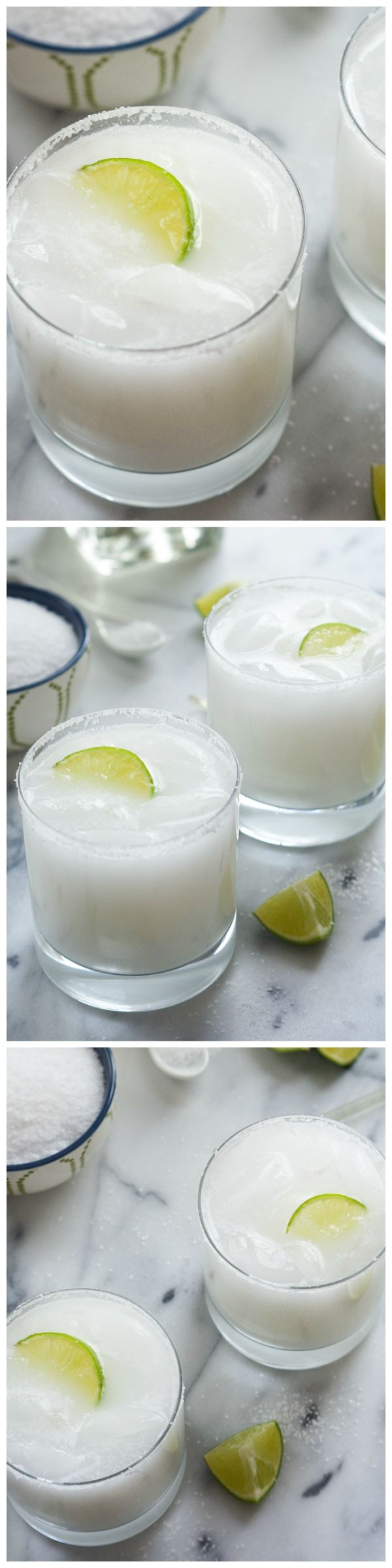 These Skinny Coconut Margarita are made with lite coconut milk, coconut water, tequila blanco and triple sec for a refreshing cocktail!