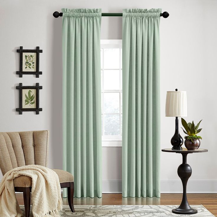 Grand Luxe Linen Gotham Mineral Rod Pocket Curtain Panel (84 - Mineral), Blue, Size 50 x 84