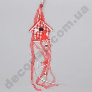 подвесной декор - красный домик с лентами