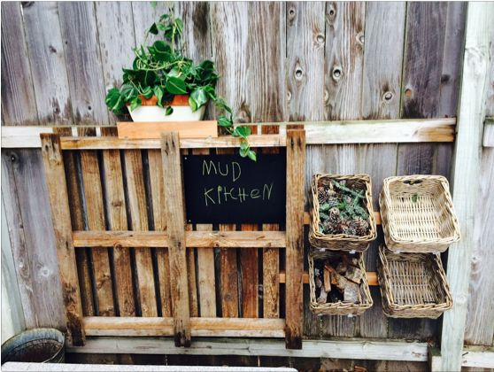 Because I know you all love a pallet, and a mud kitchen.
