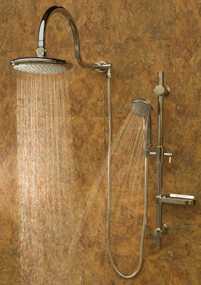pulse aqua rain shower bathroom shower system replaces your existing shower head with an oversize rain shower head adjustable slide bar with soap dish and - Rain Shower Heads