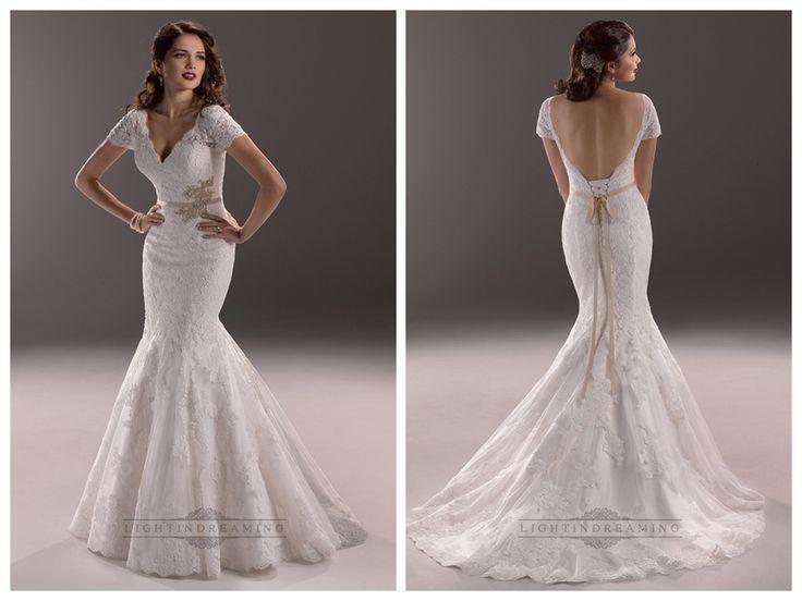 Elegant Plunging V-neck Short Sleeves Mermaid Open Back Wedding Dresses  #wedding #dresses #dress #lightindream #lightindreaming #wed #clothing   #gown #weddingdresses #dressesonline #dressonline #bride  http://www.ckdress.com/elegant-plunging-vneck-short-sleeves-mermaid-  open-back-wedding-dresses-p-163.html