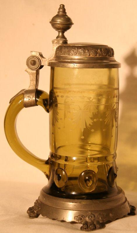 Belle chope XIXème en cristal de bohême et étain
