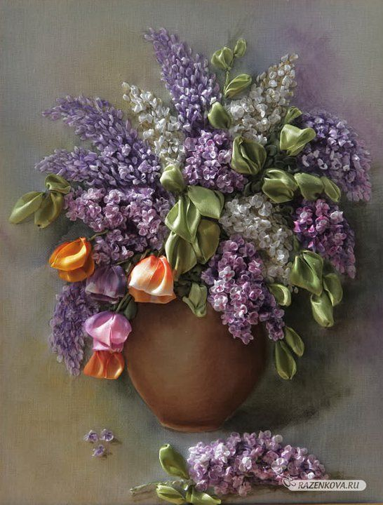 Lilacs, Valentina Razenkova, Ribbon EmbroideryEmbroidery, Ribbons Art, Silk Ribbon Embroidery, You, Ribbons Embroidery, Silk Ribbons, Ribbons Work, Crafts,  Flowerpot