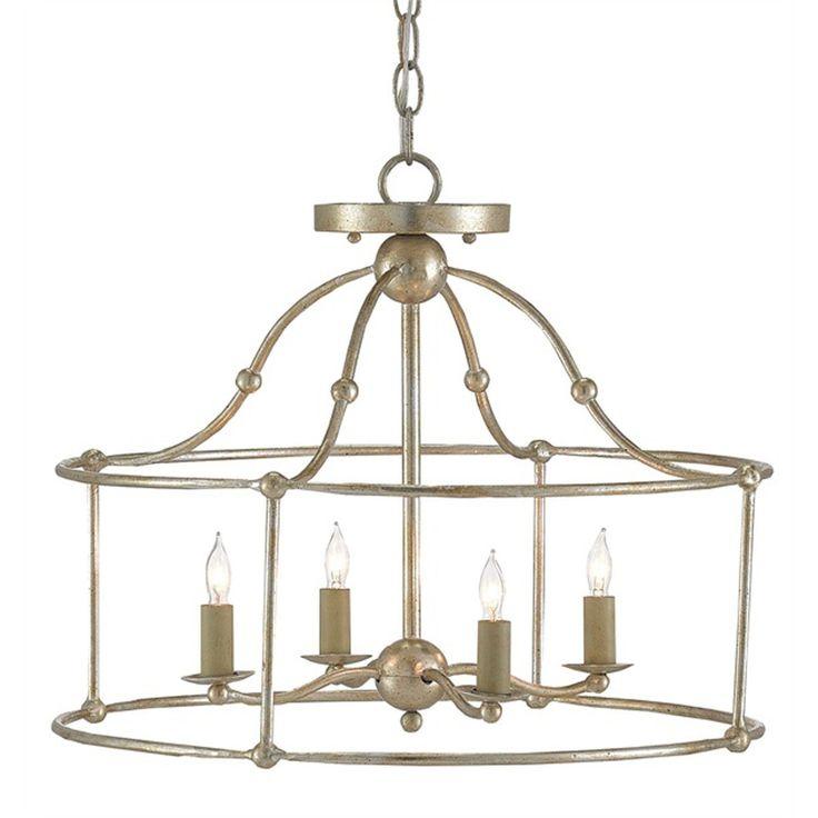 Wrought Iron Frame Ceiling Lantern Ceiling Light silver_leaf
