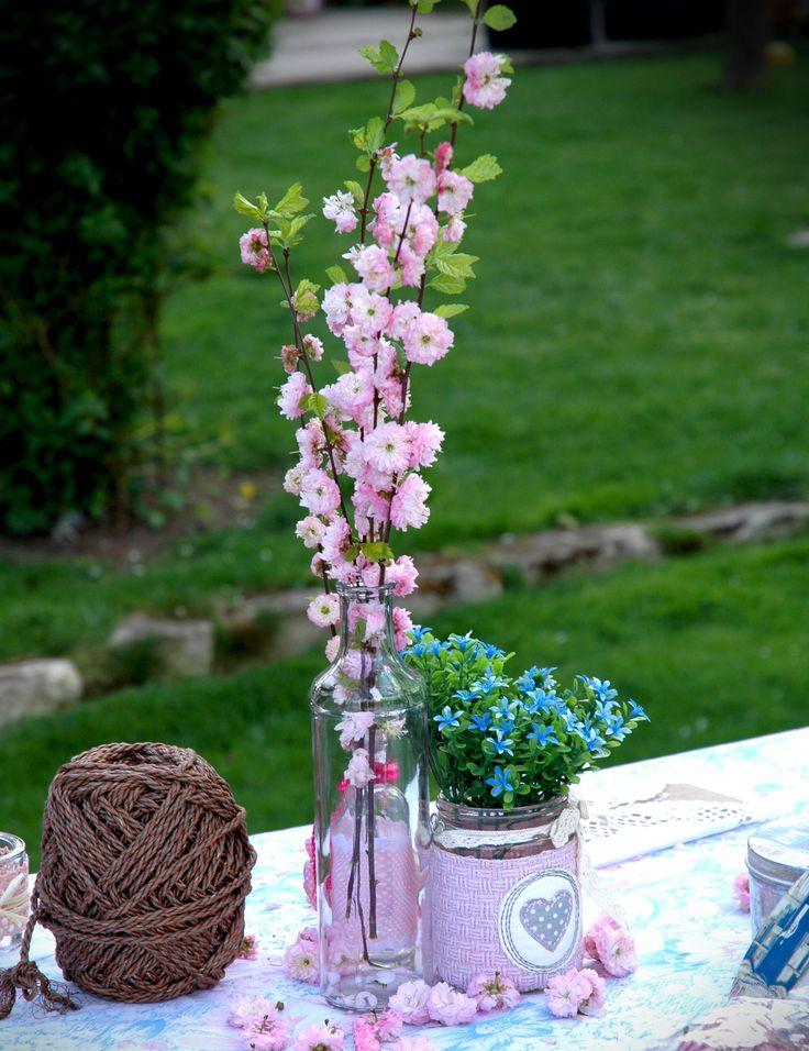 Provence stílusú esküvő asztaldísz