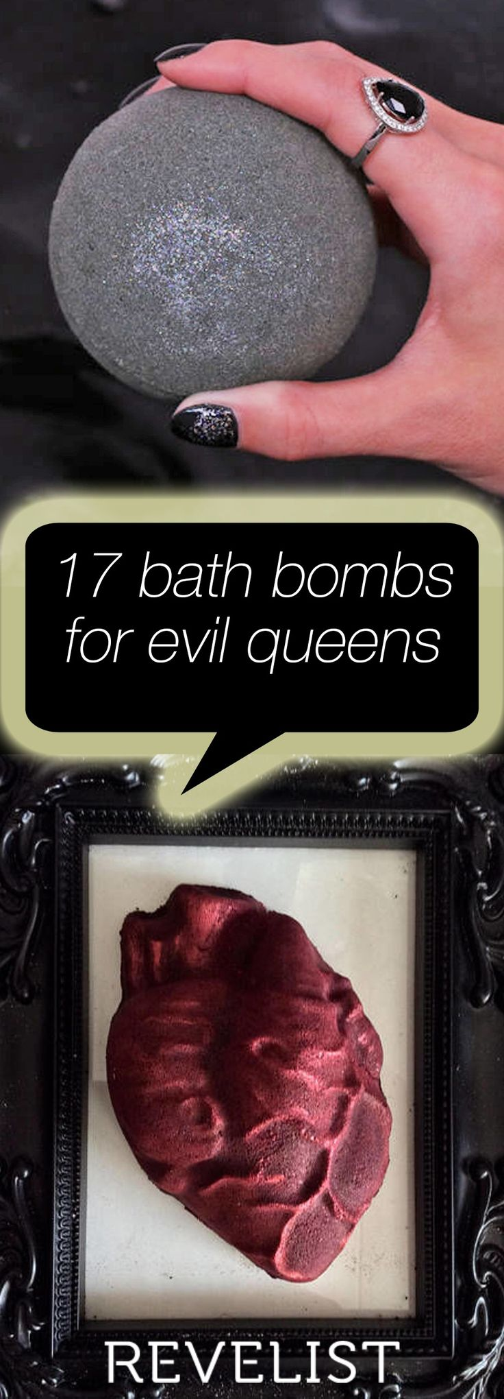 Fact: Goth queens LOVE baths. And what's the easiest way to up your ~spooky~ soaking game? With strange and unusual bath bombs, of course!  Whether you're looking for that perfect last-minute bath bomb gift for your all-black-everything BFF, or you *are* that person who dreams in darkness, here are 15 goth queen bath bombs that are perfect for dark hearts everywhere.