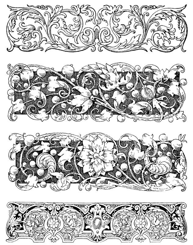 Carved Botanical Borders Set of 4 Rubber Stamps