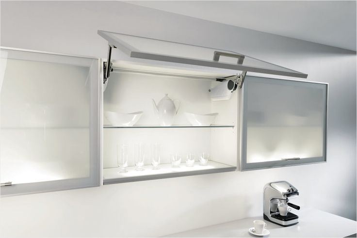 ALNO lift-up frosted glass illuminated wall unit